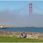 Tijdens een wandeling over de Golden Gate Bridge in San Francisco ... thumbnail