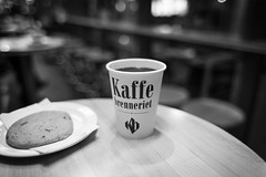 Coffee time (borishots) Tags: coffee coffeetime coffeeshop coffeelover kaffebrenneriet oslo norway scandinavia blackandwhite bw contrast clarity canon5d canon28mmf18 f18 wideopen wideangle bokehlicious bokeh bokehwhore caffeine night shadows beauty beautiful analog retro vintage cookie cookies food foodporn cup cupofcoffee coffeecup table woodentable resting chill chillout caon5dclassic