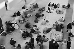 Blanket man. (wayne's pix1) Tags: blackandwhite london uk tatemodern england bw relaxation atrest stilllife blackwhite