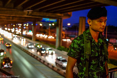 Guard duty (Rich Friend) Tags: green soldier military coup guard watch uniform people bangkok thailand city asia street everyday urban