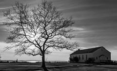 Sandy Hook Chapel (Firoz Ansari) Tags: nj newjersey sandyhook chapel sunset highlands cloud cloudy blackwhite