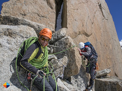 Jean having Johannes on belay (HendrikMorkel) Tags: mountains alps mountaineering chamonix alpineclimbing artedescosmiques arcteryxalpineacademy2015