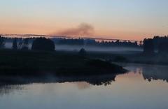 Midsummer night in Finland. (Sirke Vaarma) Tags: sunset mist river landscape midsummer maisema juhannus usva auringonlasku joki