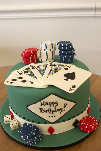 Vegas Chips and Cards Cake