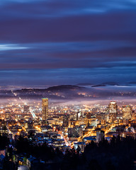Foggy Portland Oregon (seanhaselden) Tags: pdx portland city skyline cityscape fog clouds sunrise moody pink lights canon landscape cities dark night
