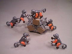 Tricratetacular New Year (DJ Quest) Tags: triangle crate monkey cyber lego minifig animal