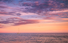 peaches and cream (JimfromCanada) Tags: sea ocean serene peaceful sunset peachesandcream boat sail sailboat anchored anchor summer outdoor evening alone one ship cloud sky pretty loscabos mexico