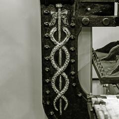 caduceus, the winged staff and intertwined serpents of Hermes (Leo Reynolds) Tags: xleol30x leol30random bw jjpm caduceus panasonic lumix fz1000