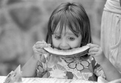 Watermelon (Misko78) Tags: blackandwhite bw film girl kids kid nikon grain 100 nikonf2 ilford selfdeveloped id11 agfapan nikkor50mm14ai