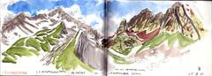 150605 Col des chevrettes (Vincent Desplanche) Tags: mountain montagne watercolor sketch aquarelle sketchbook ecrins neocolor croquis champsaur