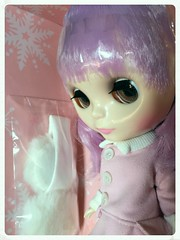 Got this girl in the mail today! (dolly_billz) Tags: snowflake new pink oregon portland eyes hug doll purple lavender lilac jacket ear blythe muff fbl nrfb