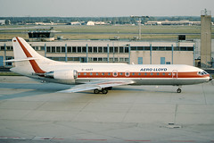 Aero Lloyd SE-210 Caravelle 10R D-AAST (c/n 230) (Frankfurt) Painted in the old color-scheme and retired from service in 1991. (Manfred Saitz) Tags: germany airport frankfurt aviation lloyd fra aero sud caravelle eddf se210 dreg daast