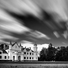... (Kaldar) Tags: longexposure sky castle clouds dark square blackwhite estonia eesti weldingglass alatskivi