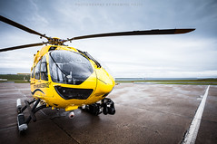 New Scottish Ambulance Service helicopter (Premysl Fojtu) Tags: new rescue yellow canon island eos scotland airport orkney aircraft aviation north july wideangle medical helicopter fullframe dslr kirkwall mainland eurocopter 2015 ef1740 scottishambulanceservice 5dmkii ec145t2 airbushelicopters gsasn