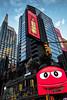 Times Square - NYC (Lucille-bs) Tags: amérique etatsunis usa etatdenewyork newyork timessquare building architecture publicité enseigne enseignelumineuse lumière city mms rouge reflet smiley broadway