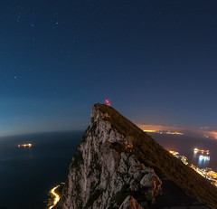 Starry Night (Oliver J Davis Photography (ollygringo)) Tags: starry night rock gibraltar rockofgibraltar rockformation top cliffs cliff promontory pillarofhercules lights illuminated glow city trees nature europe africa morocco sea ocean mediterranean atlantic strait straitofgibraltar sky clear stars ships boats tankers shipping road traffic electricity contrast continent continents continental divide nikon d90 ceuta spain tangier coast coastal coastline high elevated view composite curved horizon january winter wintry 2017 energy consumption environment peak summit famous place