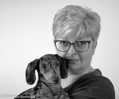 The two ladies of the manor in b/w :)) (Fred / Canon 70D) Tags: getijgerdedwergteckel dapple canon70d canon eos canoneos ef50mmf14usm teckel dachshund portrait dog puppy elinchrom huisdier