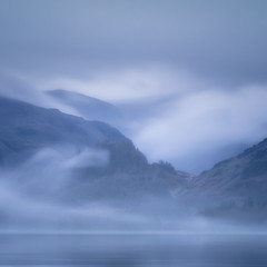 Blue Hour (Vemsteroo) Tags: lakedistrict bluehour derwentwater derwent mist sunrise dawn morning castlecrag mistfog landscape waterscape square art outdoors fujifilm fuji xt2 100400mm cumbria thelakes cloudy damp overcast ethereal atmospheric early winter cold cool
