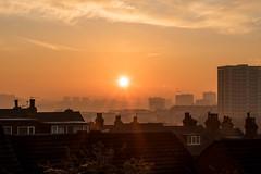Sunrise over Leeds (Daniel Mortimer) Tags: leeds england uk morning sun sunrise city citycenter building buildings orange europe eos canon canon7dmarkii sigma hdr outside
