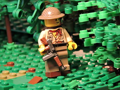 Afternoon By The Hedges (brickdetailer) Tags: tree trees lego british soldier war history oak mape pine spruce gun helmet brodie grass dirt