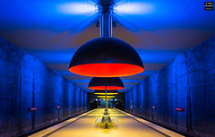 Going Underground (1): Westfriedhof (Tobias Neubert Photography) Tags: ubahn underground subway bahnhof station westfriedhof farben colors colorful architektur architecture lampen lamps blau blue yellow gelb orange lichter lights münchen munich bayern bavaria deutschland germany