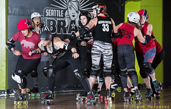 Rainier Roller Girls' Red & Black Scrimmage (Eric Von Flickr) Tags: seattle city girls white west women rat track flat skating center skaters roller skater athlete derby skates wftda
