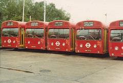 SMS186,289,168 and 273. Edgware garage 1.6.80 [ EGN 186/289/168/273J] (busmothy) Tags: edgwaregarage sms swift aec 1980s londontransport lte