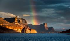 Rainbow portal (Bill Bowman) Tags: sunset rainbow lakepowell potofgold padrebay