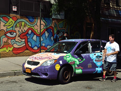 Andy Golub's Car (Eddie C3) Tags: newyorkcity streetart art graffiti graffitiartist astoriaqueens andygolub wellingcourt wellingcourtmuralproject 6thannualwellingcourtmuralproject