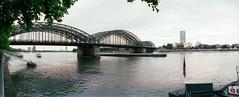 Rheinpanorama (somekeepsakes) Tags: bridge panorama film analog river germany deutschland europa europe horizon cologne kln panoramic analogue brcke fluss rhine rhein 2011 hohenzollernbrcke horizonperfekt lomocn100 lomographycn100