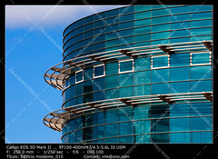 Office buildings (__Viledevil__) Tags: life city blue sky urban españa cloud color reflection building window glass colors metal architecture modern facade silver outdoors office europe downtown day exterior turquoise district steel scene structure architectural business styles cádiz financial built feature descriptive