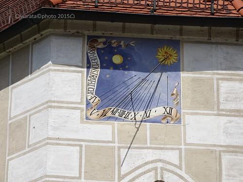 Sonnenuhr an der St. Ulrich Kirche in Lontal im Lonetal auf der Schwäbischen Alb