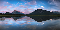 Vermilion Lakes Panorama (Cale Best Photography) Tags: travel camping sunset summer vacation sky panorama canada mountains reflection nature beautiful beauty weather clouds landscape rockies nationalpark peace pano sony calming conservation sigma peaceful roadtrip panoramic calm alberta rockymountain banff alpha idyllic mountrundle hoya sulphurmountain a77 lowepro canadianrockies cokin landscapephotography vermilionlakes benro calebest