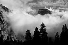 Floating Dome (grbenson3) Tags: california winter clouds blackwhite valley yosemite halfdome sierras