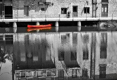 45/100x ~reflections~ (s@ssyl@ssy) Tags: red reflection water canoe grandriver elora selectivecolour hss onthegrand sliderssunday