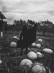 October (lunablivion) Tags: blackandwhite bw halloween me monochrome self dark pumpkin nikon pumpkins gothic creepy spooky celtic patch alternative pagan d550 heathen d5500