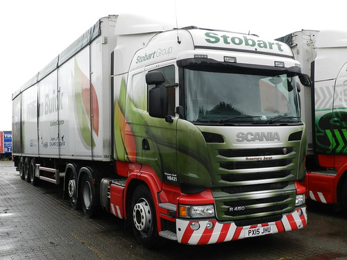 PX15JHU H8421 Eddie Stobart Scania with William Buick 'Jockey Trailer'