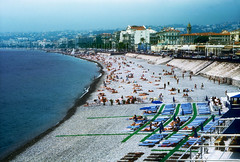 French Riviera Topless Beach Nice France 2 (Don Thoreby) Tags: sea france beach french nice mediterranean riviera topless hotels sunbathers