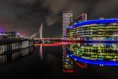 Salford Quays (graemecave) Tags: salfordquays salford night lights docks canon canon5dmk111 camera exposure 24105l long colours water