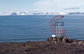 Soviet monument, Grumant, South Coast of Icefjord, Svalbard, 1982