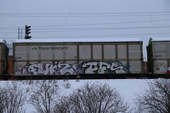 Benching... (Thomas_Chrome) Tags: graffiti streetart street art spray can freight train vr cargo transpoint freights moving target object illegal vandalism suomi finland chrome