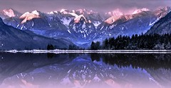 Broaden your imagination (Images by Christie ♪♫ Happy Clicks for 2017 !) Tags: mountains range snow snowpeaks winter reflections reflecting reflection sunset bc