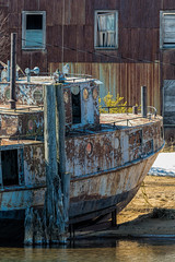 Old Fishing Boat at Whitefish Point Harbor in the Upper Peninsula of Michigan (Lee Rentz) Tags: brownfisheries lakesuperior paradise upperpeninsula whitefishbay whitefishpointharbor whitefishpointstateharbor america architecture barn boats building fisheries fishery fishing harbor michigan midwest northamerica up unitedstates usa whitefishpoint