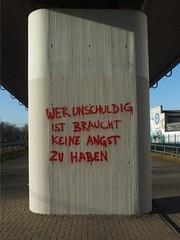 Er wars. Sie wars! (mkorsakov) Tags: dortmund nordstadt hafen graffiti tagging parole unschuld innocence wtf