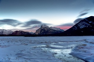 Dawn glow at Mount Rundle