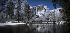 New Snow Under A Full Moon In Yosemite (WJMcIntosh) Tags: yosemite yosemitenationalpark snow winter yosemitefalls swingingbridge fullmoon