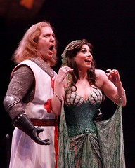 """Ron Bohmer as Sir Galahad and Lesli Margherita as the Lady of the Lake in the 2010 Music Circus premiere of the Tony Award-winning Best Musical """"Monty Python's Spamalot"""" at the Wells Fargo Pavilion, July 9-18.  Photo by Charr Crail."""