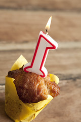 First Birthday Candle in Individual Cake (freeimagesuk) Tags: birthday food cake one candle sweet first celebration burning flame treat lit muffin milestone individual
