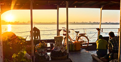 Early Morning Conversations on the Irrawaddy (Drouyn) Tags: travel bicycle sunrise river burma sony transport myanmar mandalay irrawaddy localpeople rx100