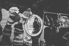 Market Stall (Electra_star) Tags: hats mirror selfportrait blackwhite market christmas glasgow vscofilm